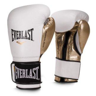 Боксерские перчатки Everlast Powerlock PU Бело-Золотые